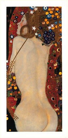 Gustav Klimt 'Sea Serpents IV' Gold Foil Framed Art Print