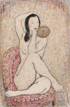 Pan Yuliang - Seated nude holding a mirror (1956)