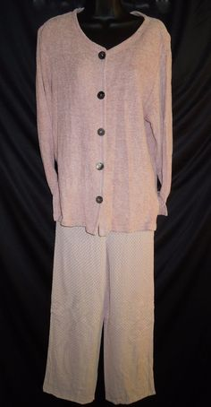 #Vintage #DavidDart #ButtonDown #Tunic #Trouser #PantSet #Pink #CoordinatedOutfits #Lightweight #Breezy #WomensFashion