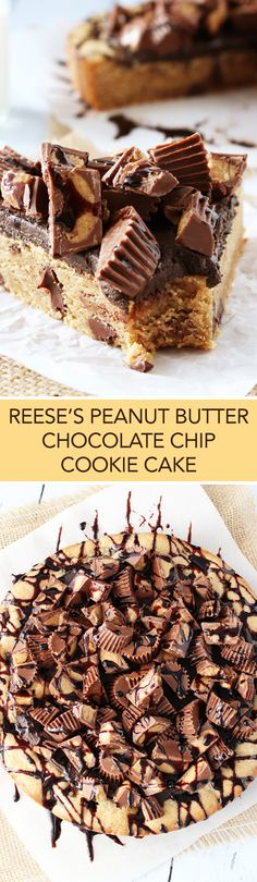 Reeses Peanut Butter Chocolate Chip Cookie Cake!  A moist and chewy peanut butter cookie stuffed with chocolate chips and chopped Reese's, topped with chocolate frosting and more Reeses!
