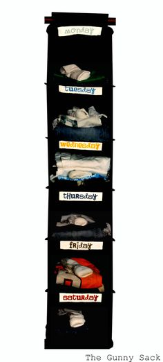 Use a hanging sweater organizer to figure out the kids clothes for the week. I think this would save time for me & hubby too!!