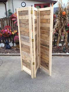"This hand made room divider, which can also be used as a movable wall, or privacy screen, is made from natural grained wood, giving it a primitive charm. It is recycled from various sources, having unique shades of ""weathering"" to each slat. No two dividers are exactly alike.  They make beautiful decorative wall covers for behind benches or chairs, can be used to block off hallways, or to petition rooms. Common uses out doors are to block the view of central air units, on patios for privacy…"