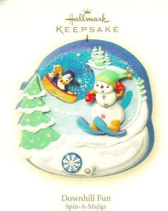 Hallmark Keepsake Ornament Downhill Fun Spin-A-Majigs  Brand: Hallmark Gold Crown Exclusive Product Type: Keepsake Holiday Ornament Year issued: 2008 UPC: 795902056162 Item no: QP1124 Features: Handcrafted Size: 3.5 inch Artist: Katrina Bricker and Ken Crow Holiday: Christmas Turn the crank on the ornament to bring its winter scene to life.