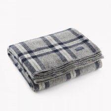 Soho Wool Throw - Gray/Navy Plaid