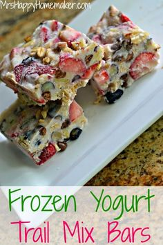 Frozen Yogurt Trail Mix Bars - such an easy, healthy, & delicious recipe! You only need 5 ingredients to make it & it's a huge hit all around. | Get the recipe on MrsHappyHomemaker.com