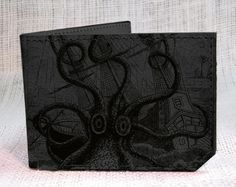 wallet  leather wallet  octopus attacks wallet  mens by backerton, $37.00