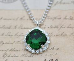 "Necklace Dark Green Moss Swarovski Crystals Holiday Christmas Bridesmaids Necklace Emerald Matching Wedding Crystal Necklace 16"" Silver"