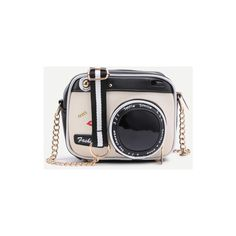 Camera Shaped Crossbody Bag With Buckle (£23) ❤ liked on Polyvore featuring bags, handbags, shoulder bags, black and white, print handbags, chain shoulder bag, crossbody chain purse, pu handbag and pattern purse