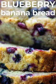 We love this thick sliced banana bread packed with loads of blueberries! It's perfect served warm with a thick smear of salted butter. The bread is tender with juicy pops of berries. Banana Bread Cookies, Blueberry Banana Bread, Chocolate Banana Bread, Best Banana Bread, Blueberry Recipes, Banana Bread Recipes, Banana Bread With Blueberries, Bananas, Baked Banana