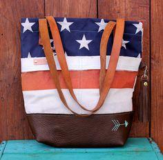 American Flag purse Henry Tote in repurposed vintage American by WatsonandMayberry