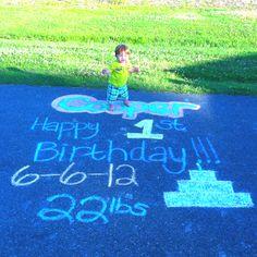 First Birthday - Sidewalk chalk! November Birthday, 2nd Birthday, Birthday Ideas, Birthday Parties, First Birthday Pictures, Sidewalk Chalk, Photographs, Photos, Baby Pictures
