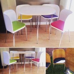 Retro Funky Dining Table with 4 Chairs. White Pink Green Yellow and Purple Pink And Green, Yellow, Purple, Cupboard, Cabinet, Dining Chairs, Dining Table, Contemporary, Retro