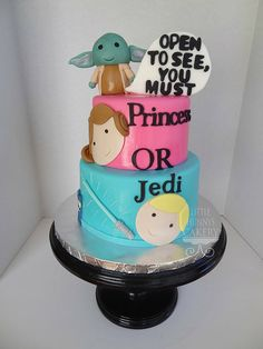 Soooo, I'm not havin a baby or nothing.. but this Star Wars Gender Reveal cake for a baby shower, is pretty effin sweet. The inside is dyed blue or pink depending. Little Hunnys Cakery | CAKE GALLERY