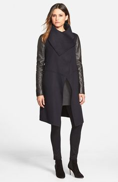 Free shipping and returns on Mackage Wool Blend Coat with Leather Sleeves at Nordstrom.com. An oversized envelope collar creates face-framing drama on an asymmetrical duster cut from a soft, Italian wool blend with supple lambskin-leather sleeves.