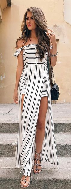 #summer #outfits White Striped Off The Shoulder Maxi Dress + Studded Sandals ✨