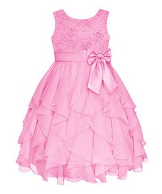 Take a look at this Ice Pink Rosette Ruffle Dress - Infant, Toddler & Girls by American Princess on #zulily today!