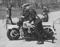 1951 Columbus (Ohio) Police Motorcycle    Photo dated April 23, 1951.  Columbus motorcycle police patrolman Richard Gordon learning to handle motorcycle in Franklin Park.