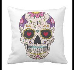 Fundas de cojines - Funda colchon decorativa Cráneo mexicano #ArtMini - hecho a mano por ArtMini en DaWanda