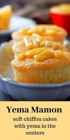 Yema Mamon - glorija paskotic - Yema Mamon If you like mamon, you will surely love these yema mamon. They are soft chiffon cakes filled with creamy yema in the centers. It is a delicious surprise! Pinoy Dessert, Filipino Desserts, Filipino Food, Filipino Recipes, Filipino Dishes, Pinoy Food, Cupcake Recipes, Cupcake Cakes, Dessert Recipes