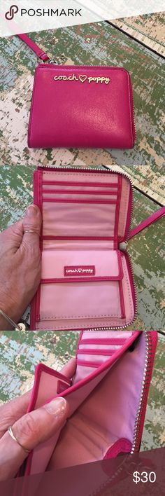 "Coach ""Poppy"" wallet Cute pink Coach half wallet...like new. Zips around to close. Snap coin purse inside. Coach Bags Wallets"