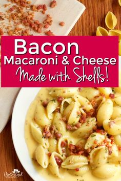 Everyone loves this bacon macaroni and cheese recipe that's made with shells! It's a simple recipe with a fun and meaty twist! Make this macaroni and cheese recipe right on your stove for a super quick, less mess, comfort food for cheese and pasta lovers! Family Recipes, Family Meals, Cheese Stuffed Shells, Macaroni N Cheese Recipe, Pork Ham, Cheesy Recipes, Hams, Lunches And Dinners, Lunch Ideas