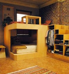 50 Tiny House Design with Bunk Beds - decoratoo Small Space Living, Small Spaces, Cool Apartments, Studio Apartments, Loft Bed Studio Apartment, Brooklyn Apartment, Tiny House Design, Dream Rooms, Cool Rooms