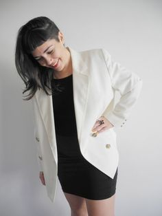 Vintage 70s White Double Breasted Blazer   Retro Cream jacket with gold buttons   Large L Tall Cream Jacket, Spring Jackets, Double Breasted Blazer, Vintage 70s, Buttons, Retro, Gold, Shopping, Fashion