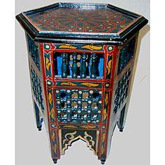 Arabesque Wooden Blue Moroccan Star End Table (Morocco)