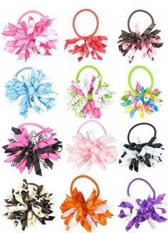 """HipGirl Boutique Girls 12pc Set 3"""" Grosgrain Ribbon Korker Hair Bow Pony Holders - One Size. In Gift Box HipGirl. $15.99. Save 45% Off!"""