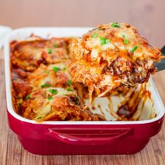 Easy Chicken Enchilada Casserole - 4 ingredients is all it takes to make this popular Mexican dish. It's cheesy, it's spicy, it's delicious!
