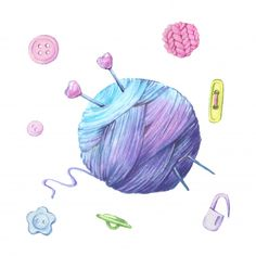 Watercolor Illustration Of A Ball Of Yarn For Knitting And Accessories For Needlework. Acrylic Painting Lessons, Watercolor Paintings Abstract, Watercolor Artists, Abstract Oil, Watercolor Illustration, Heart Illustration, Simple Illustration, Painting Art, Knitting Yarn