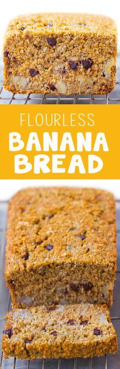 Flourless Banana Bread - 2 cups mashed banana, 1 cup oats, 1/2 tsp baking soda, 3 cups... http://chocolatecoveredkatie.com/2015/09/28/flourless-banana-bread-recipe/ @choccoveredkt