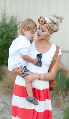 Sweet Mommy and baby picture. Cara Loren  and her son Hanes. Love her outfit too!