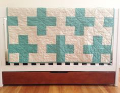teal + cream plus sign quilt with organic backing
