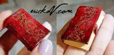 erickav.com evminiatures Red leather book with gold embossed vine