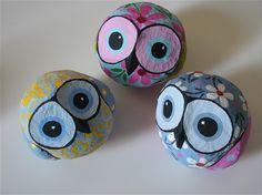 Papier mache owl pajamas with gray colors