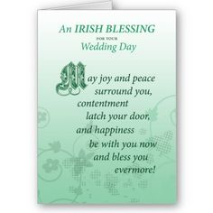 Irish Wedding Congratulations! This is much more than just for weddings ...