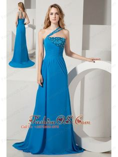 Blue A-line One Shoulder Brush Train Chiffon Beading Prom Dress  http://www.fashionos.com  Show off your own fashion style in this unique formal dress with floor length skirt for homecoming or prom. Perfect for any special night on the town this one shoulder dress features an asymmetrical bust, half of the bust and the straps are decorated with shining beads, and the lower part of the bodice is made of ruched fabric.
