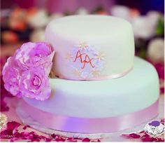 Wedding Cakes - 2 Tier Mint and Yellow Wedding Fondant Cake with Sugar Flowers and Initials Inscribed | All Things Yummy Photography by : Picture Art Company #allthingsyummy #wedding #cakes #2tier