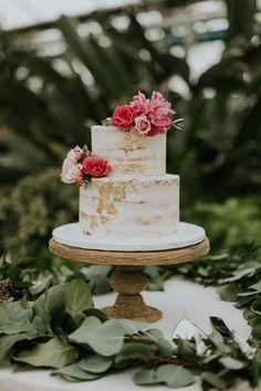 Gold leaf barely naked cake at Gold, Pink and Teal Greenhouse wedding at Philadelphia Horticulture Center via M2 Photography