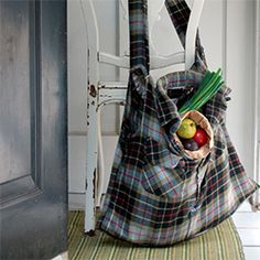 The Lumberjack Sack!  Make an original grocery bag out of an old flannel shirt.