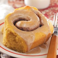 Pumpkin Cinnamon Buns -- yeast, warm water, eggs, shortening, canned pumpkin, sugar, brown sugar, vanilla pudding mix, butterscotch pudding mix, salt, flour, butter, ground cinnamon