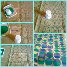 How to create your own pattern with fabric paint and a plastic cup:) Create Yourself, Create Your Own, Fabric Painting, Window Treatments, Plastic, Quilts, Paper, Diy, Painting On Fabric
