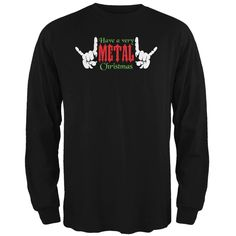 Christmas Heavy Metal Horns Black Adult Long Sleeve T-Shirt