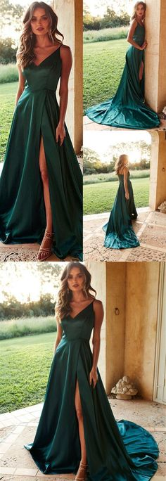 Simple green v neck long prom dress, evening dress, Shop plus-sized prom dresses for curvy figures and plus-size party dresses. Ball gowns for prom in plus sizes and short plus-sized prom dresses for Straps Prom Dresses, A Line Prom Dresses, Evening Dresses, Green Evening Dress, Dress Prom, Prom Dress With Train, Summer Dresses, Dresses Elegant, Trendy Dresses