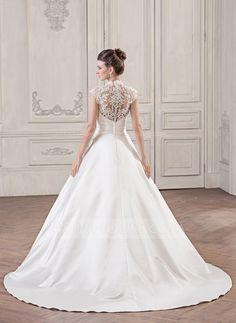 Corte de baile Escote en V Cola corte Satén Encaje Vestido de novia con Volantes (002059189) - JJsHouse