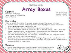 Teaching Maths with Meaning: Math Game Monday - Array Boxes