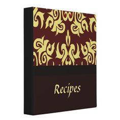 A chic damask recipes binder.
