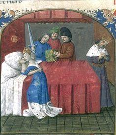 The death of Tristan and Isolde, miniature of the XV century Mort de Tristan et Iseut, enluminure de Tristan de Léonois, France, Ahun, XVe siècle, BNF