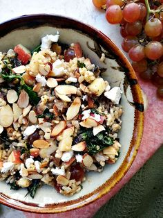 Kale and Wild Rice Bowl with Kale, Apple, Almonds, Grapes and Feta